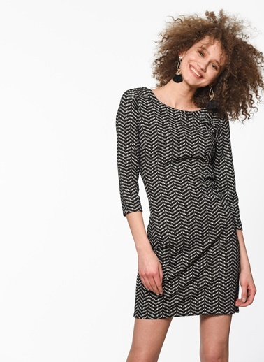 Şerit Desenli Kısa Elbise-Fashion Friends